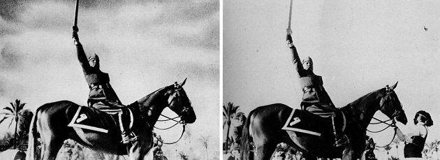 Mussolini avec et sans son écuyer, sur le blog La Retouche photo.