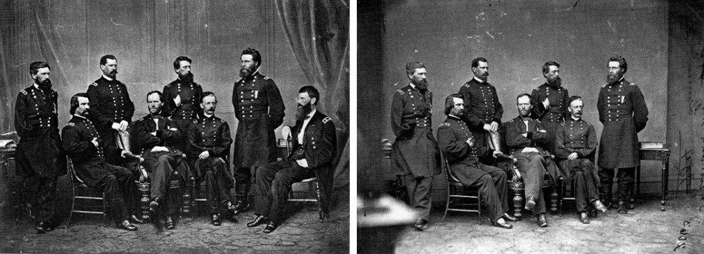 le général Sherman pose avec ses généraux 1 invité surprise, sur le blog La Retouche photo.