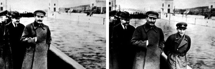 Staline qui fait effacerNikolaï Lejov, sur le blog La Retouche photo.