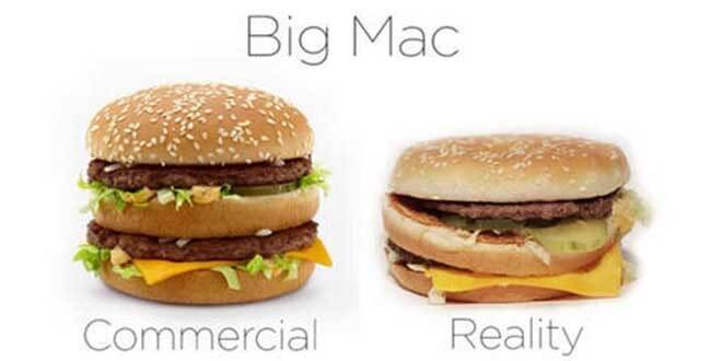 Packshot du Big Mac de Mcdonalds, la version commercial vs la réalité, sur le blog La Retouche photo.