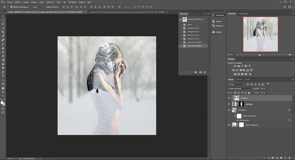 etape 02, créer une double exposition dans Photoshop