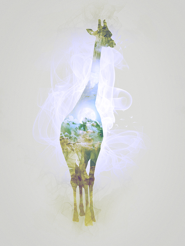"Giraffe, piece 1/10 of the serie ""Smoky nature"" realized by Tpex."