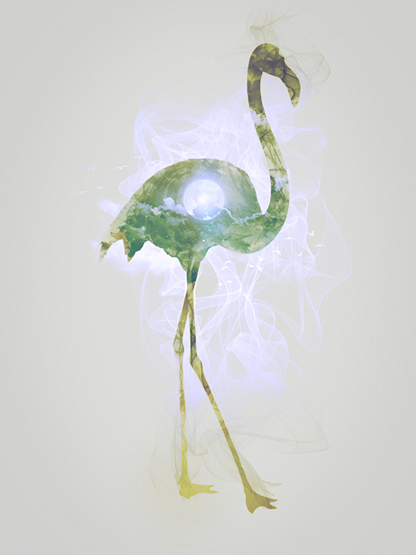 "Flamingo, piece 8/10 of the serie ""Smoky nature"" realized by Tpex."