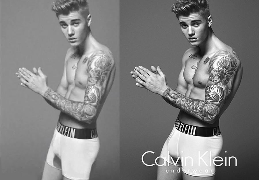 Justin Bieber pour Calvin Klein , sur le blog La Retouche photo.