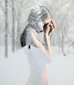 """Après, Double exposition """"Silhouette hiver"""" dans Photoshop sur le blog La Retouche photo"""